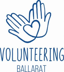 Volunteering Ballarat Logo, featuring line image of two hands overlapping to form a heart shape